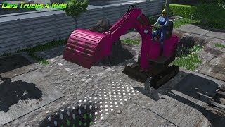 Dig IT | Mini Excavator | Dig a Trench to Plant | Cars Trucks 4 Kids