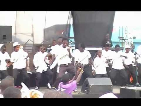 Mbale Schools Band dancing at Bayimba festival in Mbale