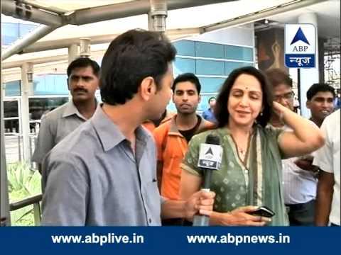 Hema Malini arrive in Delhi for Modi's oath ceremony