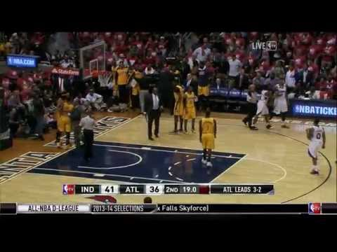 Mike Scott and George Hill shoving match: Pacers at Hawks, Game 6