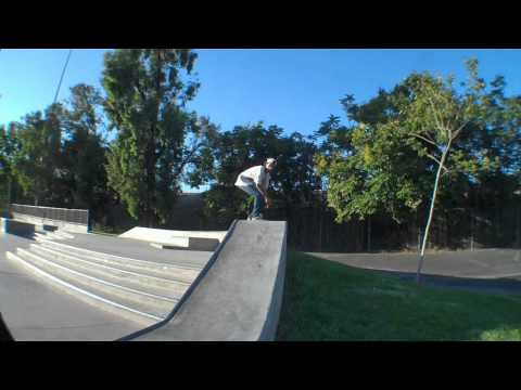 Frontside big spin from narrow ledge down stairs
