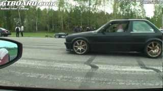 Ferrari 458 Italia vs BMW 3-series E30 Turbo E85-powered.