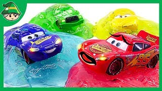 Learning Color by Disney Cars. Pudding color jelly slime play. Colored toys.