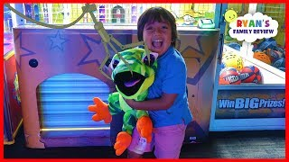 Ryan Won the Biggest Surprise Toy from the Crane Machine at Dave & Busters!!!!