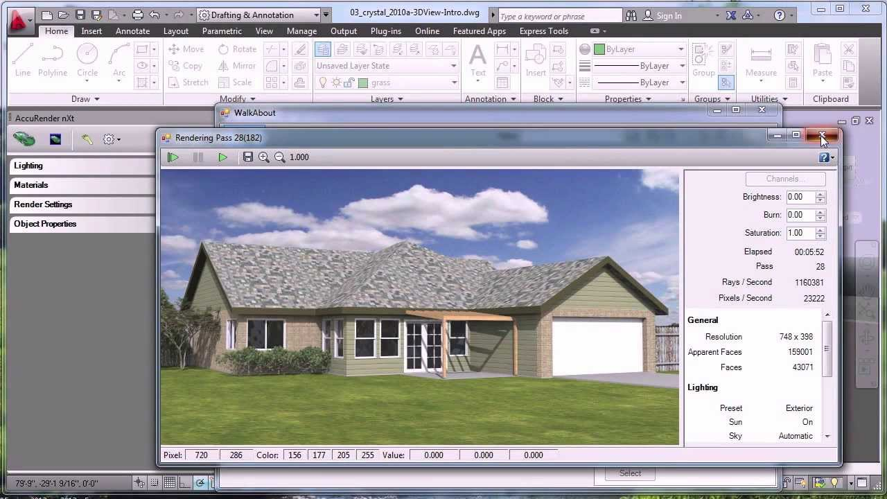 Rendering with autocad youtube for Home rendering software