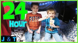 24 Hours In Our BLANKET FORT MANSION / Jake and Ty