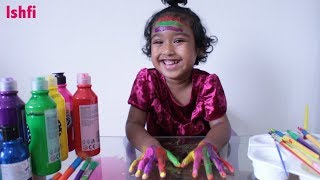 Happy Toddler Ishfi Learns Colours with Finger Paint by Daddy