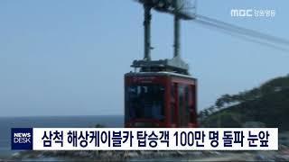투/삼척해상케이블카 100만 명 탑승 눈앞