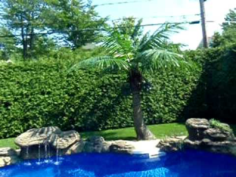 Outdoor Artificial Palm Tree And Pool Waterfall YouTube