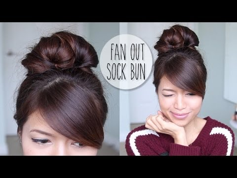 Everyday Fan Sock Bun Updo Hairstyle for Long Hair Tutorial