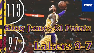 Lakers Beat The Miami Heat 113 - 97, LeBron James 12th Career 51 Pts, November 18, 2018