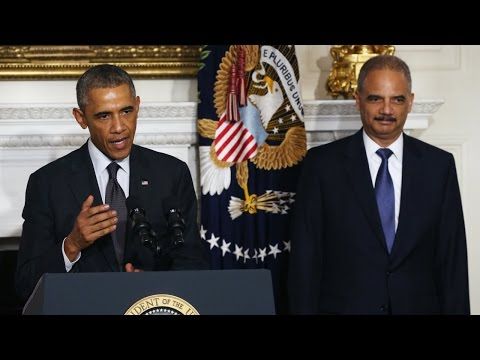 Eric Holder Says Goodbye During Obama Press Conference