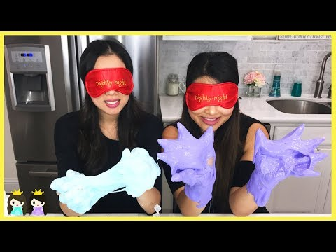 BLINDFOLDED SLIME CHALLENGE: Making Giant Fluffy Slime with Princess ToysReview