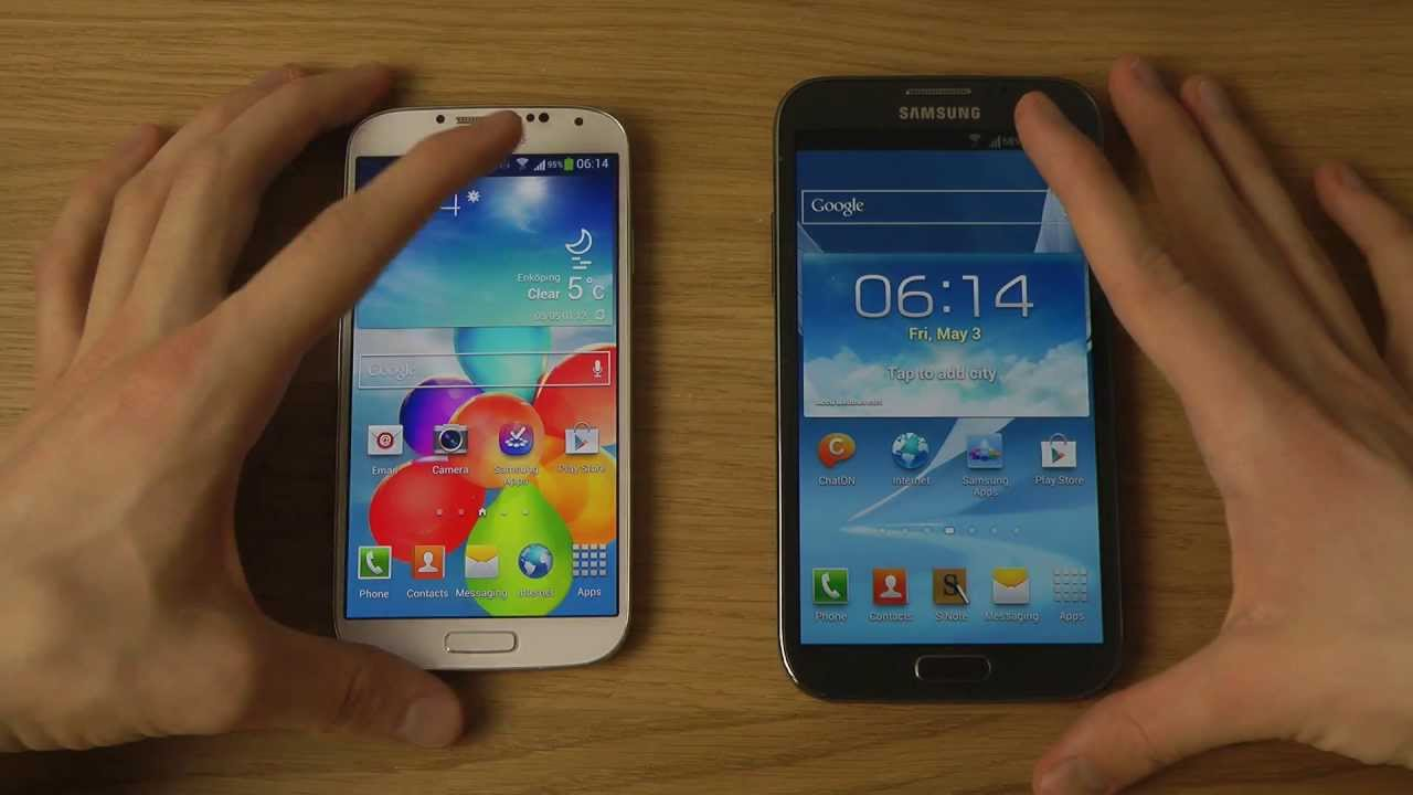Samsung Galaxy S4 vs. Samsung Galaxy Note 2 - Review - YouTube