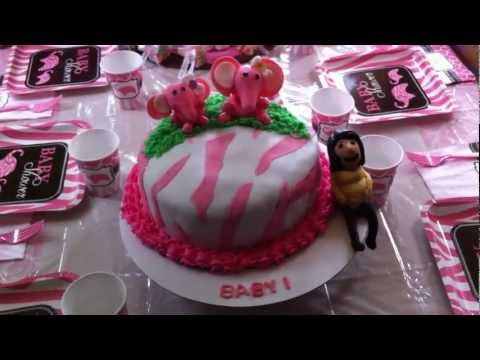pin pink safari zebra baby shower cake cake on pinterest