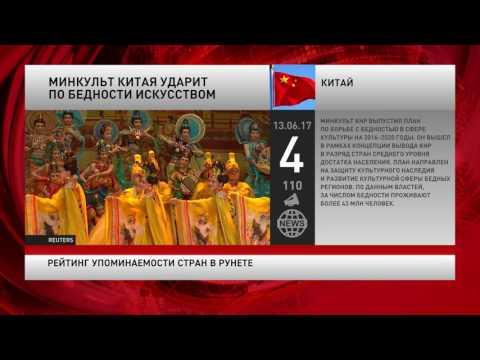 Рейтинг упоминаемости стран в русскоязычном интернете за 13 июня