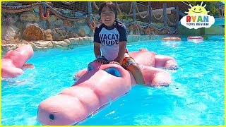 Ryan plays at Water Park and rides Water Slides for kids!
