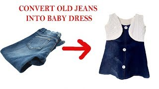 Reuse or transform old jeans to baby dress with jacket