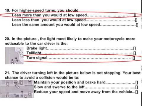 2015 dmv motorcycle released test questions part 2 for General motors assessment test