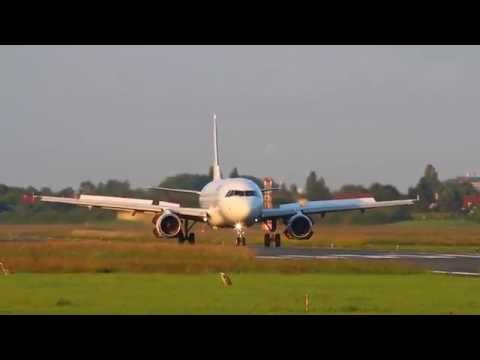 Tailwind Airbus A320 YL-BBC landing at City Airport Bremen 14.06.2014