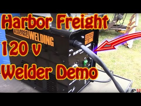 DIY Harbor Freight 90 Amp-AC 120 Volt Flux Cored Wire Feed Welder Demo - $85  H F  Sale Welder!