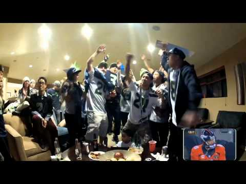 12th Man Reactions during Seattle Seahawks 2014 Super Bowl Vs Denver Broncos