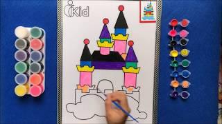 Đồ chơi trẻ em TÔ MÀU LÂU ĐÀI TRÁNG LỆ - Coloring The Castle - Learn colors (chị Chim Xinh)