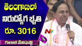 CM KCR Announces Rs.3016 For Unemployment Allowance | TRS Manifesto | NTV