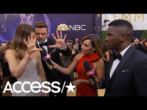 Justin Timberlake & Jessica Biel Send A Secret Signal To Son Silas On The 2018 Emmys Carpet