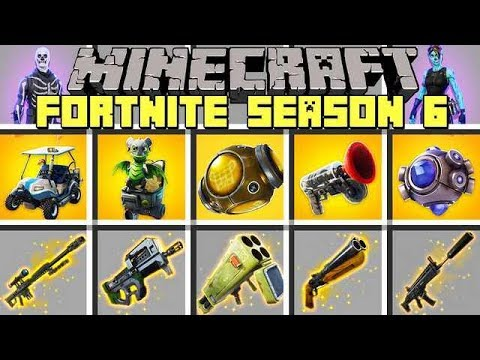 Minecraft FORTNITE SEASON 6 MOD l NEW HALLOWEEN FORTNITE SKINS, ITEMS & GUNS! l Modded Mini-Game