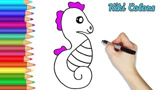 How to Color Cute Seahorse Part 2 | Teach Drawing for Kids and Toddlers Coloring Page Video