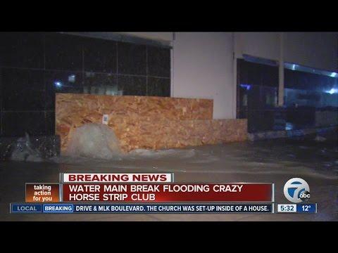 Water main break flooding Crazy Horse strip club