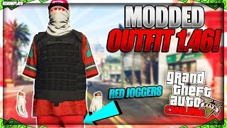 GTA 5 Online *BEST* RED Joggers TryHard Modded Outfit Using Clothing Glitches 1.46!
