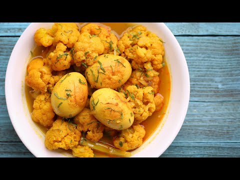 ডিম দিয়ে ফুলকপির ঝোল | Cauliflower With Egg Curry | Cauliflower Curry | Fulkopi Recipe