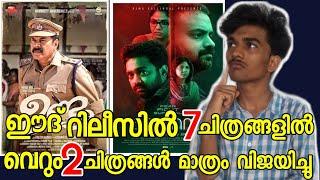 ഈദ് റിലീസിൽ 7 മലയാളചിത്രങ്ങളിൽ വെറും 2 ചിത്രങ്ങൾ വിജയിച്ചിട്ടുള്ളൂ Only 2 movie win in 7 Eid release