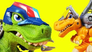Playskool Heroes Chomp Squad Troopersaurus T-Rex Dinosaur Teams Up With Imaginext Batman
