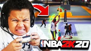 MY LITTLE BROTHER'S FIRST TIME PLAYING NBA 2K20!! *HILARIOUS* FT. P2ISTHENAME (IM BACK TO 2K?)