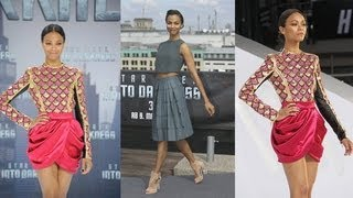 Zoe Saldana In A Hot Pink Crop Top | Celebrity Style | Fashion Flash