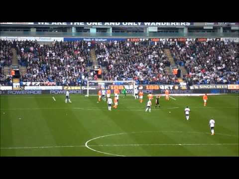 BOLTON V BLACKPOOL 4 MAY 2013.FREEKICK TO BOLTON SECOND HALF