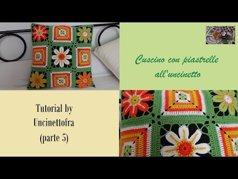 cuscino con piastrelle all'uncinetto tutorial (parte 5)