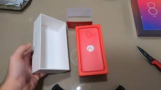 mi 8 lite & one plus 6 128gb unboxing.  one plus 6 128gb no phone inside the box