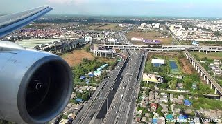 Landing in Bangkok Airport. Boeing 777-200. Thai Airways Flight TG322. Rolls Royce Trent Engine
