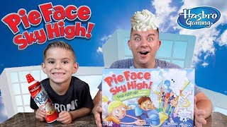 PIE FACE SKY HIGH CHALLENGE!!! Giant, Messy Pie Face Game