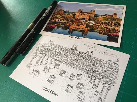 Sharing/Drawing A Post Card From Amsterdam - technical pen