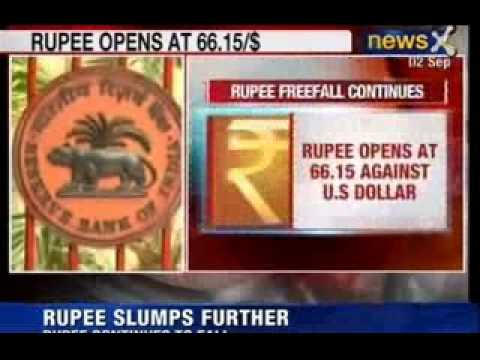 NewsX : Indian Rupee fall - Opens at 66.15 against US Dollar