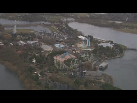 Thorpe Park surrounded by water: Floods hit theme park in the Thames Valley