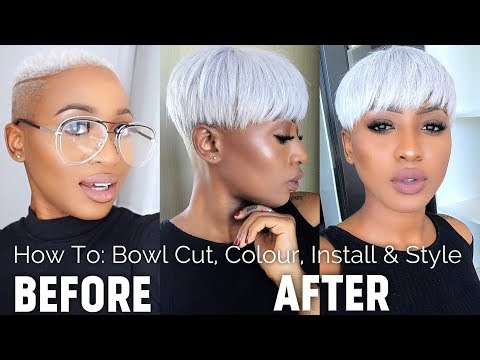 HOW TO: COLOUR, INSTALL QUICK WEAVE + STYLE - ICY PLATINUM BLONDE / WHITE HAIR - RIHANNA BOWL CUT