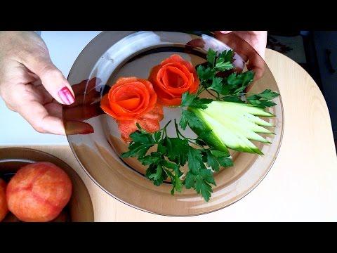 Domatesten gül yapımı. Suslemek salata