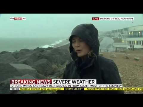 HURRICANE BERTHA LIVES SKY NEWS HARRIET HADFIELD