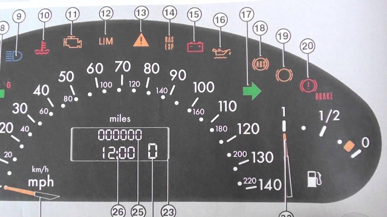 Mercedes sprinter warning lights meaning for Mercedes benz dashboard lights not working